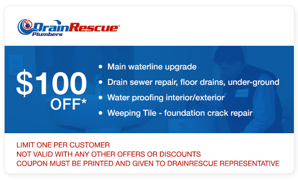 Water line upgrade, drain repair, waterproofing coupon Drain Rescue