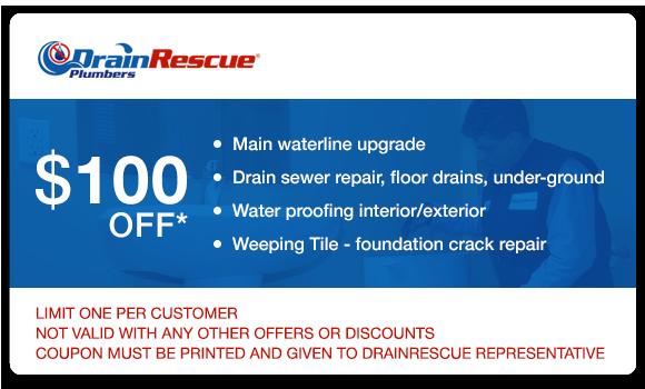 Water line upgrade, drain repair, waterproofing coupon Drain Rescue